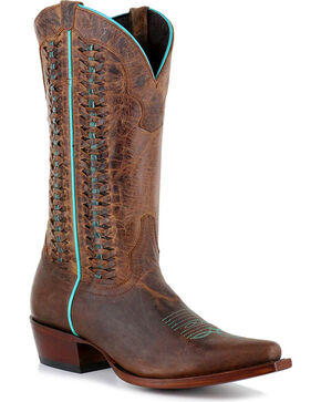 Shyanne® Women's Contrast Piping Laced Western Boots , Brown, hi-res