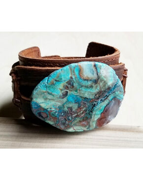 Jewelry Junkie Ocean Agate On Leather Cuff , Blue, hi-res