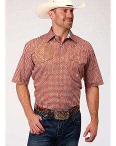 Amarillo Men's Clay Foulard Print Short Sleeve Western Shirt , Orange, hi-res