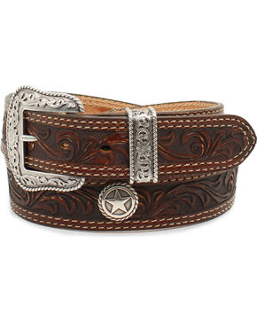 Nocona Men's San Antonio Floral Embossed Star Concho Leather Belt, Brown, hi-res