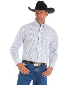 George Strait by Wrangler Men's Dot Geo Long Sleeve Western Shirt, Blue/white, hi-res