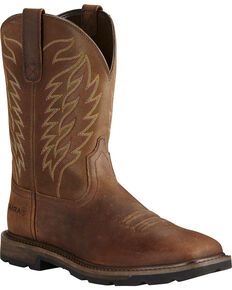 Ariat Men's Groundbreaker Square Toe Western Work Boots, Brown, hi-res