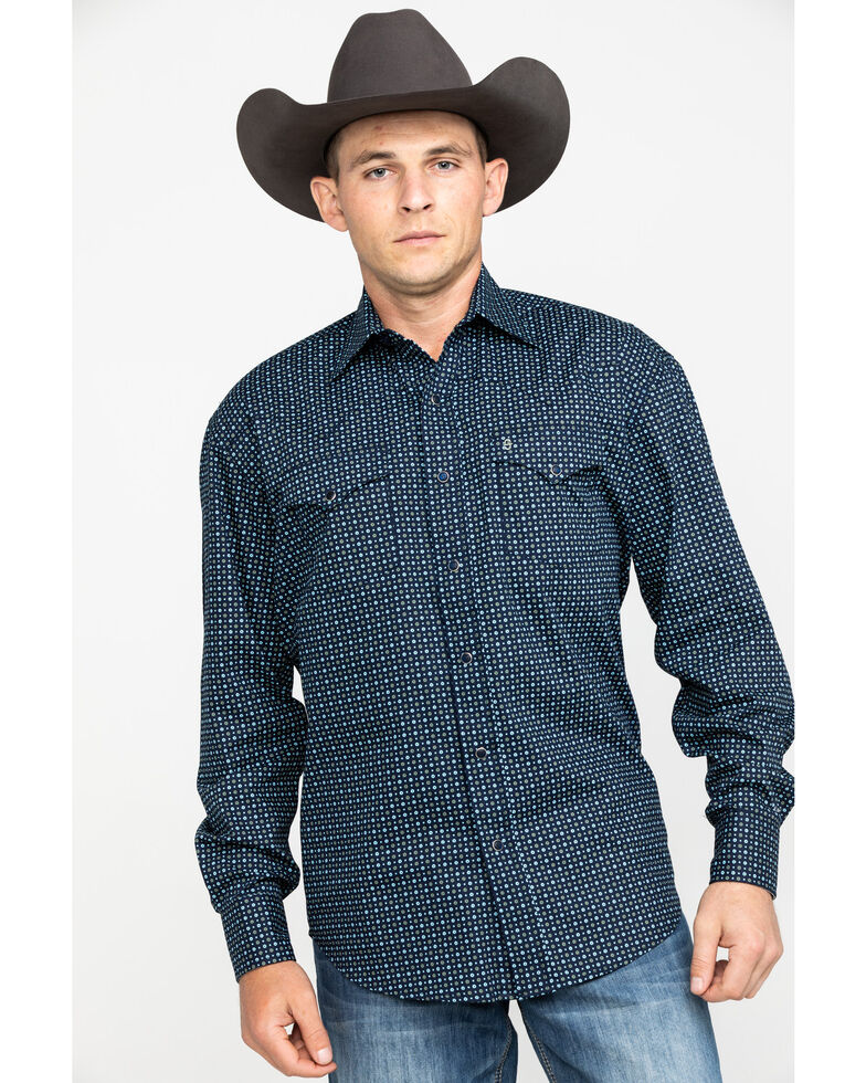 Stetson Men's Circle Geo Print Long Sleeve Western Shirt , Blue, hi-res