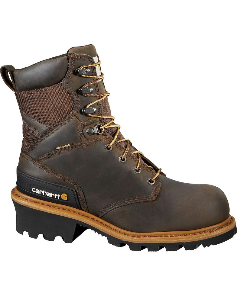 "Carhartt 8"" Brown Waterproof Logger Boots - Composite Toe, Crazyhorse, hi-res"