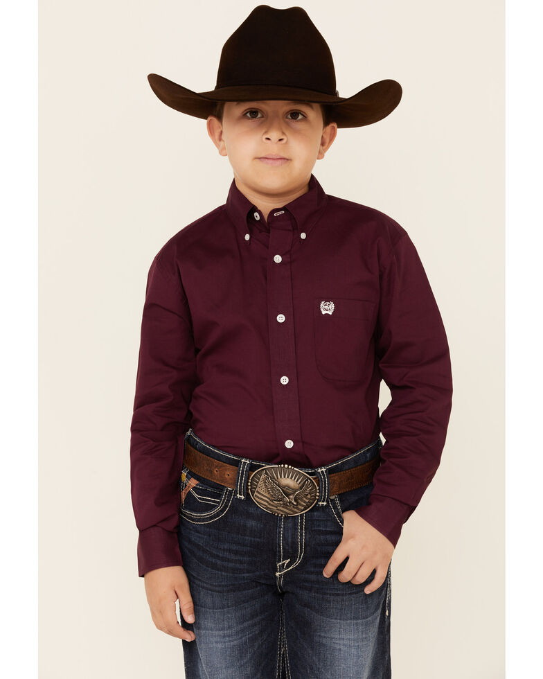 Cinch Boys' Purple Button Twill Long Sleeve Western Shirt , Purple, hi-res