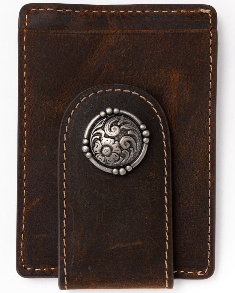 Cody James Men's Boot Stitch Money Clip Leather Wallet , Chocolate, hi-res