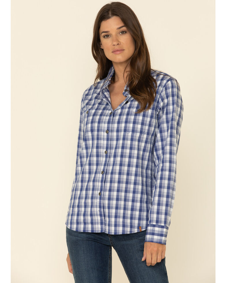 Wrangler Riggs Women's Blue Plaid Long Sleeve Work Shirt, Blue, hi-res