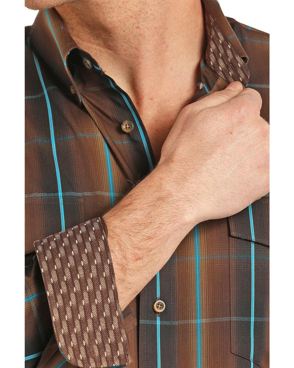 Panhandle Men's Plaid Brown Long Sleeve Western Shirt, Brown, hi-res