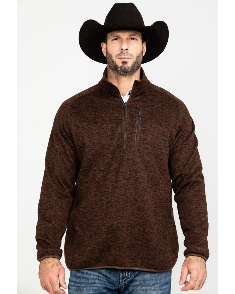 Stetson Men's Bonded 1/4 Zip Front Sweater, Brown, hi-res