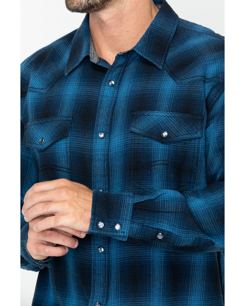 Cody James Men's Long Haul Long Sleeve Western Flannel Shirt , Blue, hi-res