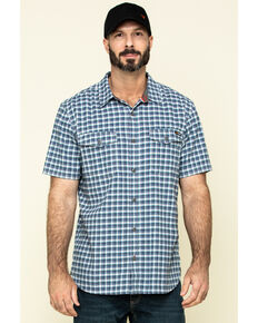 Hawx Men's Skyhawk Indigo Plaid Short Sleeve Work Shirt - Tall , Indigo, hi-res
