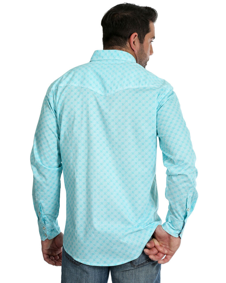 Wrangler 20X Men's Advanced Comfort Multi Geo Print Long Sleeve Western Shirt , Turquoise, hi-res