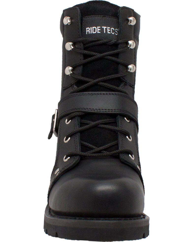 "Ad Tec Men's 8"" Lace Zipper Biker Boots - Soft Toe, Black, hi-res"