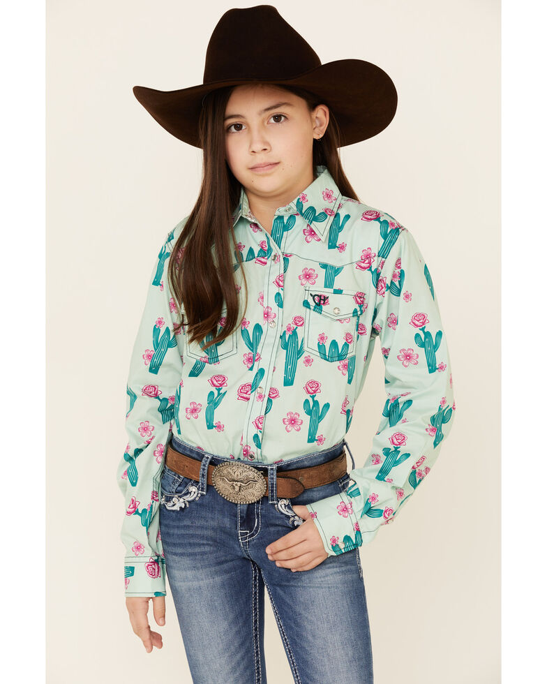 Cowgirl Hardware Girls' Mint Cactus Print Long Sleeve Western Shirt , Light Green, hi-res