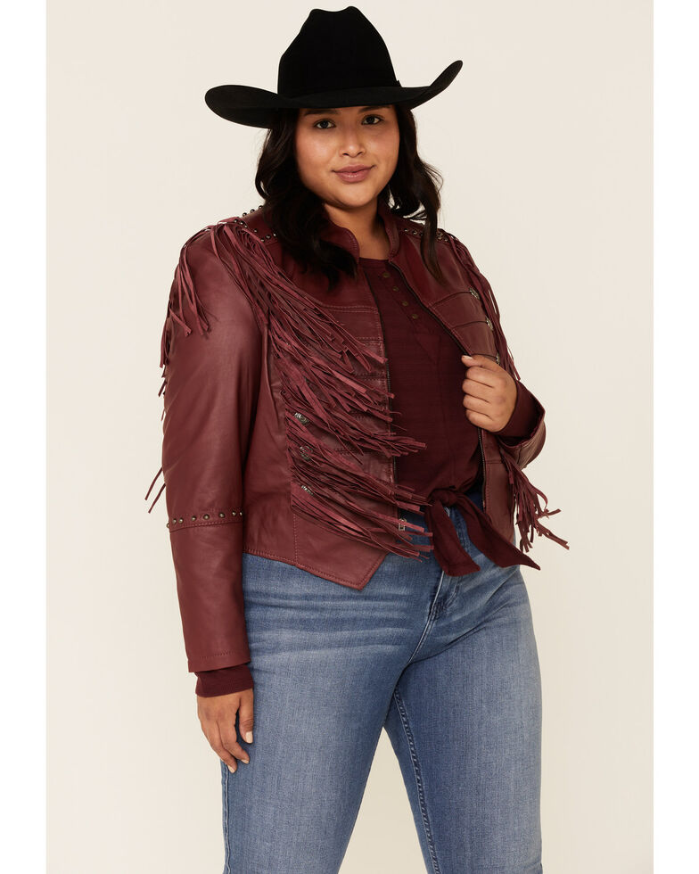 Liberty Wear Women's Burgundy Fringe Sheep Napa Jacket - Plus , Burgundy, hi-res