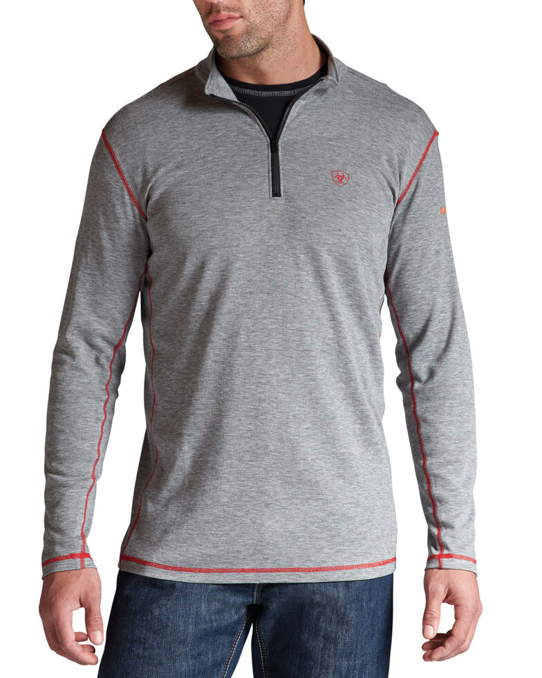 Ariat Men's Polartec 1/4-Zip Flame-Resistant Base Layer Pullover, Hthr Grey, hi-res
