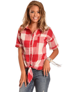 Polagram Women's Plaid Tie Front Short Sleeve Shirt, Red, hi-res