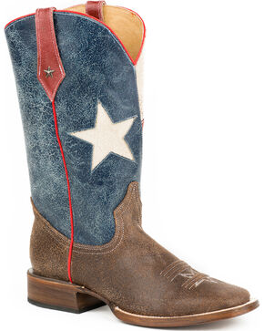 Roper Men's Texas Star Western Boots, Brown, hi-res