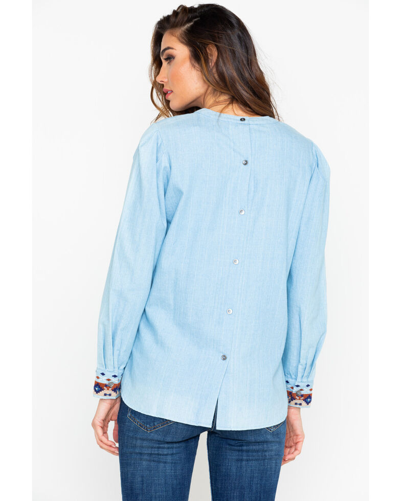 Miss Me Women's Hi-Low Embroidered Top, Light Blue, hi-res