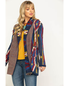 Rock & Roll Cowgirl Women's Navy Aztec Open Front Cardigan, Blue, hi-res