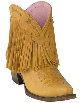 Lane Women's Spitfire Mustard Fringe Booties - Snip Toe, Dark Yellow, hi-res