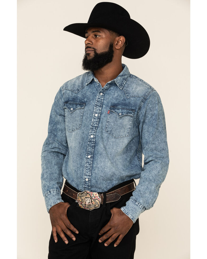 Levi's Men's Denim Long Sleeve Western Shirt, Blue, hi-res