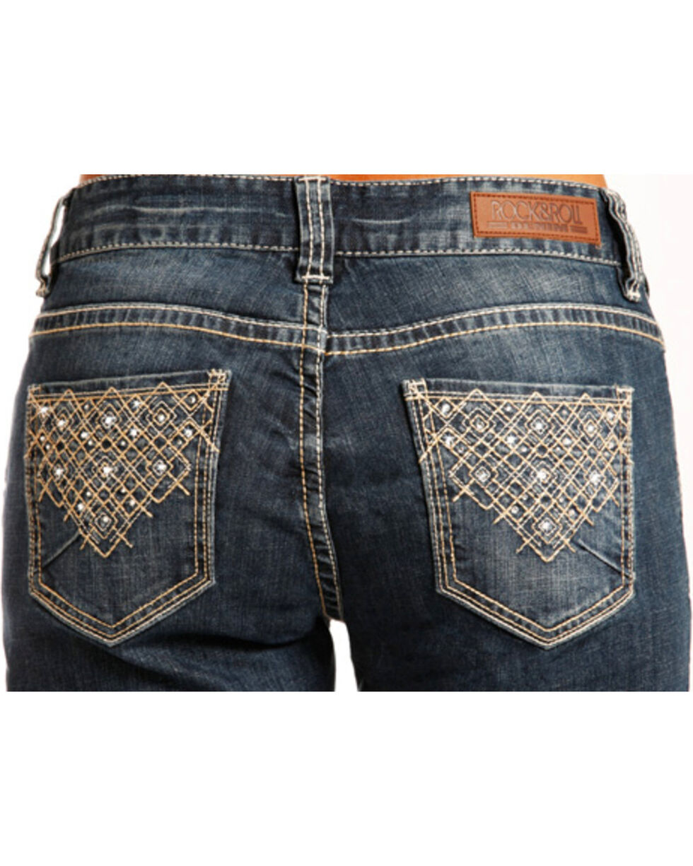 Rock & Roll Cowgirl Women's Embellished Boyfriend Jeans - Straight Leg , Indigo, hi-res