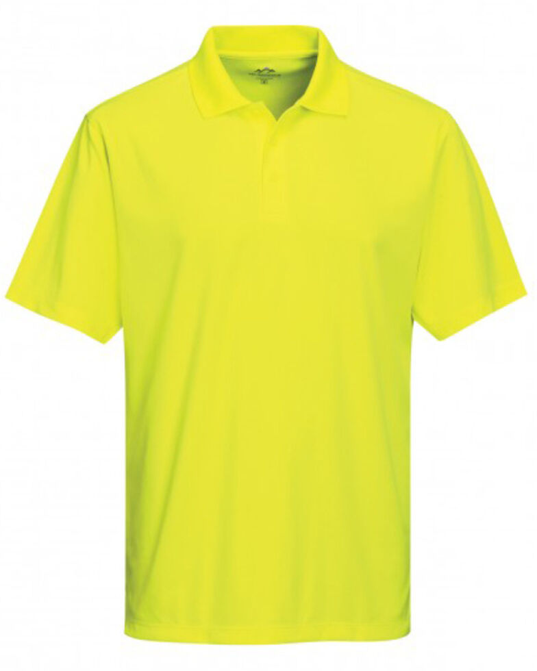 Tri-Mountain Men's Bright Green Vital Mini-Pique Short Sleeve Work Polo Shirt - Tall, Bright Green, hi-res