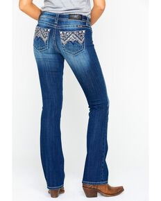 Miss Me Women's Chloe Back Embroidered Boot Jeans  , Blue, hi-res