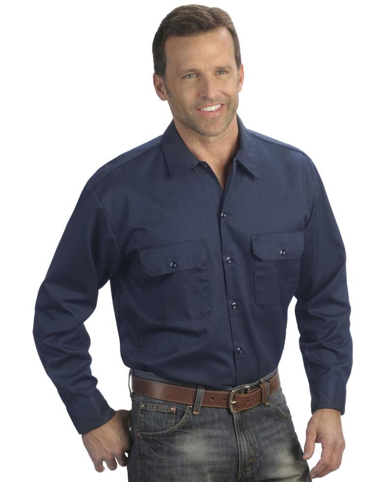 Dickies Men's Solid Twill Long Sleeve Work Shirt - Folded , Navy, hi-res