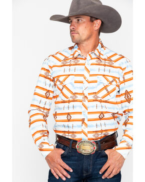 Rock & Roll Cowboy Aztec Print Long Sleeve Western Shirt, Orange, hi-res