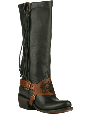 Lane Women's Southbound Strap Western Boots, Black, hi-res