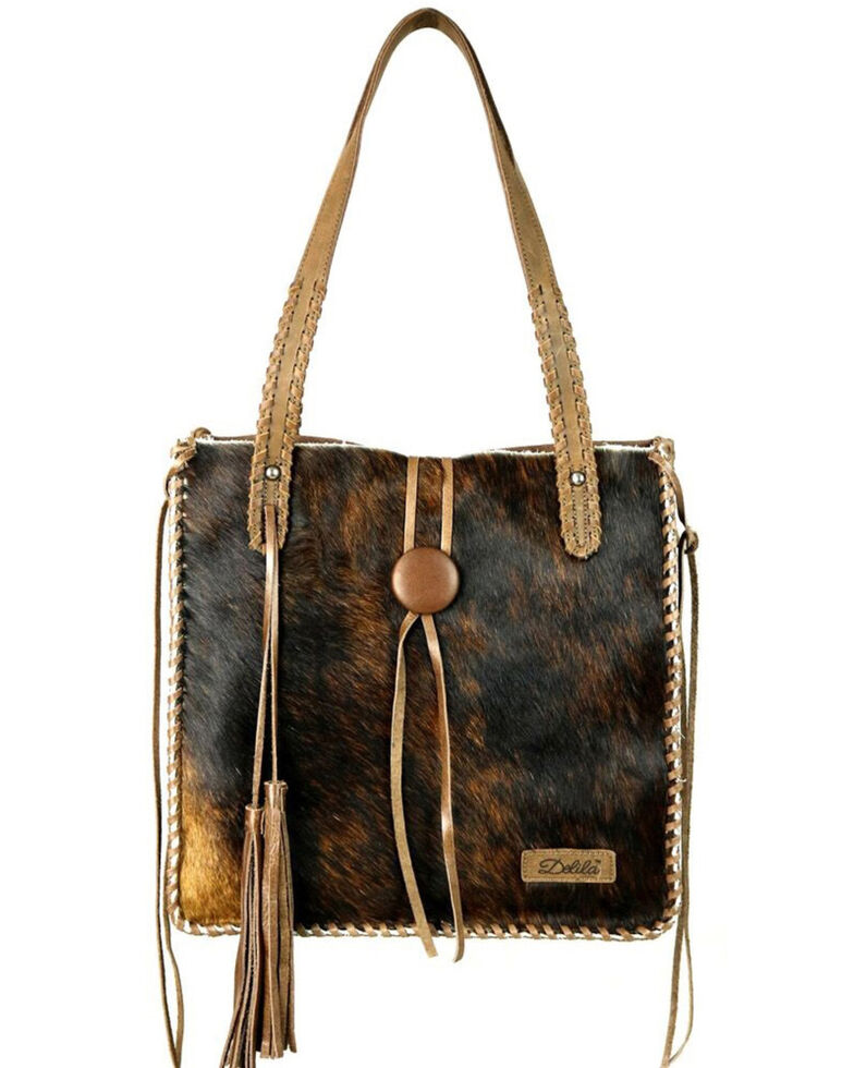 Delila Women's Leather Hair On Hide Tote, Coffee, hi-res
