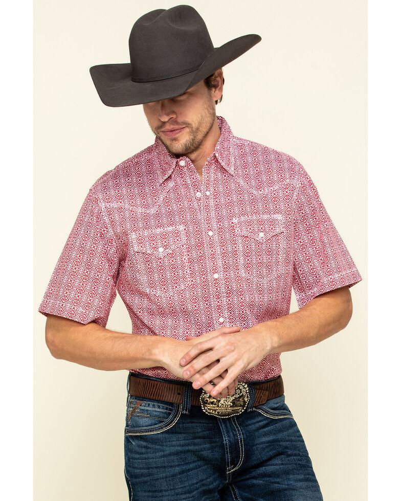 Wrangler 20X Men's Advanced Comfort Red Geo Print Short Sleeve Western Shirt , Red, hi-res