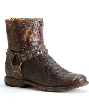 Frye Women's Phillip Studded Harness Boots - Round Toe, Chocolate, hi-res