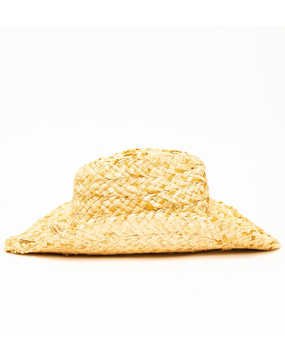 San Diego Hat Co. Peeking Gold Sequin Straw Hat, Natural, hi-res