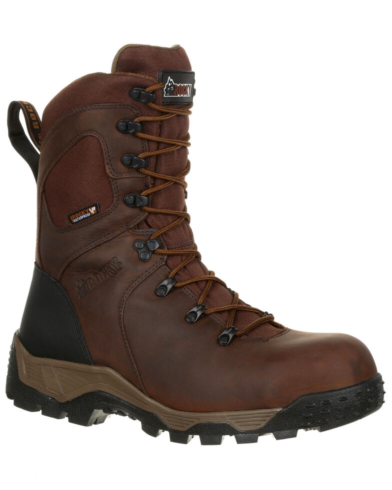 """Rocky Men's Sport Pro Waterproof 9"""" Work Boots - Composite Toe, Dark Brown, hi-res"""