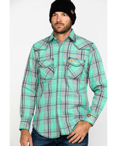 Wrangler 20X Men's FR Green Plaid Long Sleeve Work Shirt - Tall , Green, hi-res