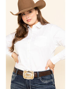 Ariat Women's White Kirby Stretch Shirt - Plus, White, hi-res