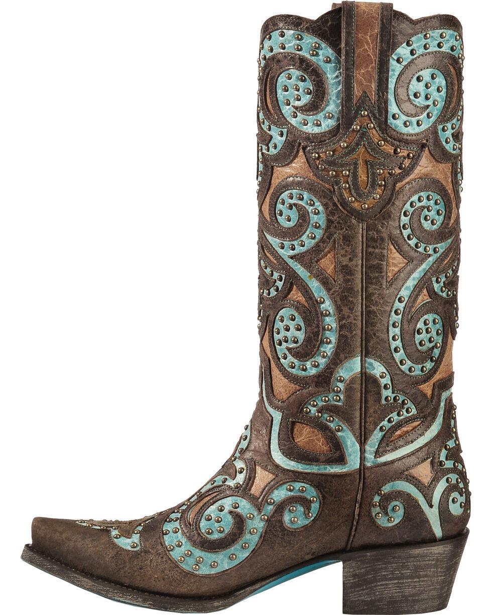 Lane Women's Paulina Western Fashion Boots, Brown/turq, hi-res
