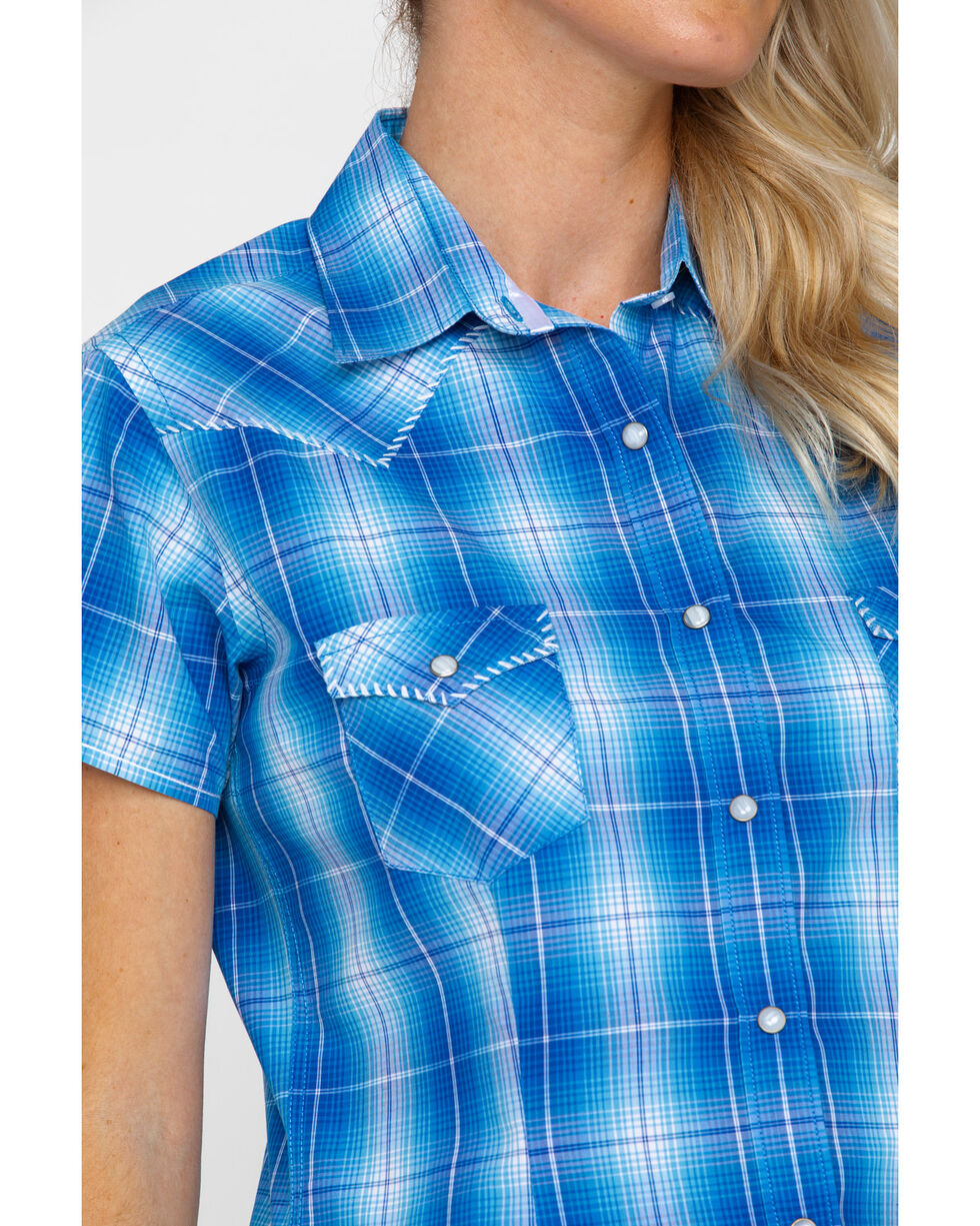 Rough Stock by Panhandle Women's Lindsey Ombre Plaid Short Sleeve Western Shirt , Blue, hi-res