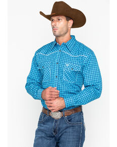 Cowboy Hardware Men's Print Long Sleeve Western Shirt , Blue, hi-res