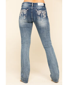 Grace in LA Women's Light Wash Embellished Bootcut Jeans , Blue, hi-res