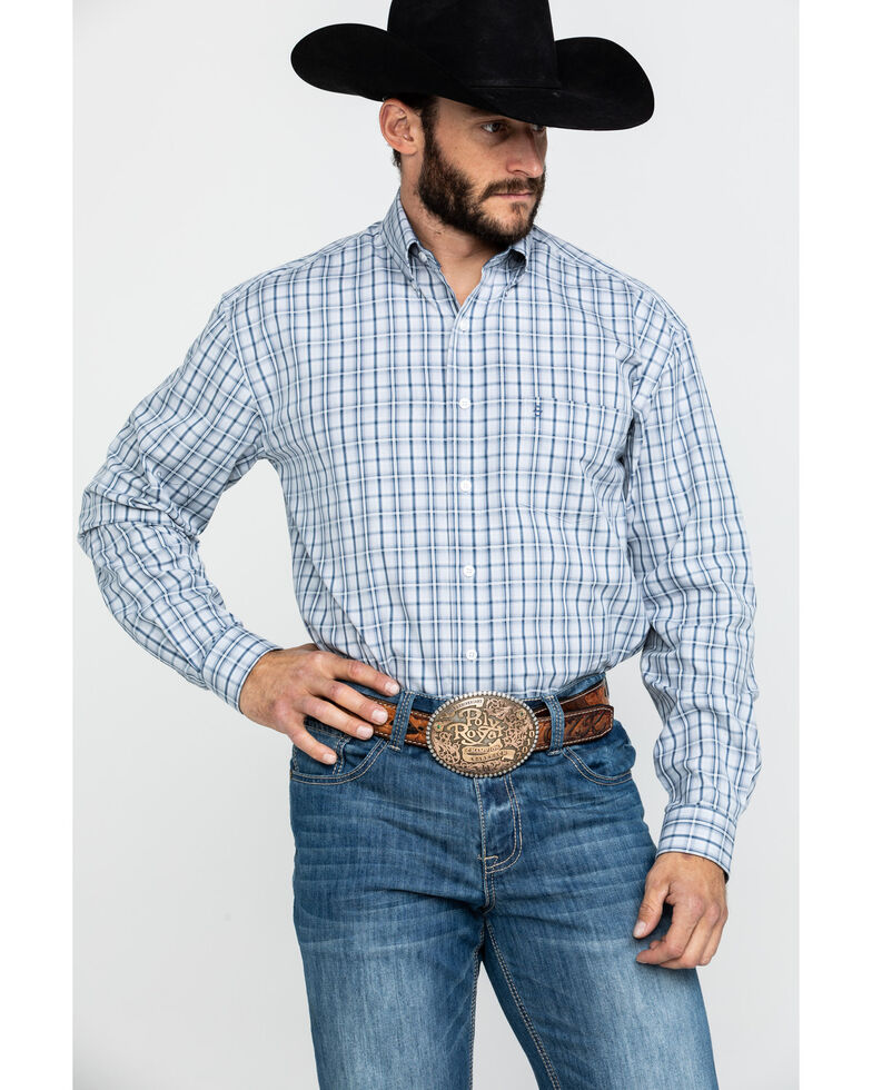 Stetson Men's Mist Check Plaid Button Long Sleeve Western Shirt , Blue, hi-res