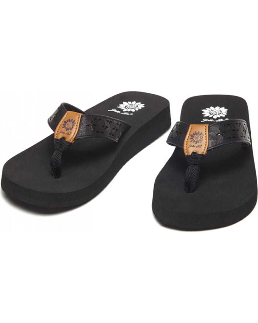 Yellow Box Women's Black Benji Laser Cut Sandals , Black, hi-res