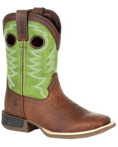 Durango Boys' Lil Rebel Pro Lime Western Boots - Square Toe, Brown, hi-res