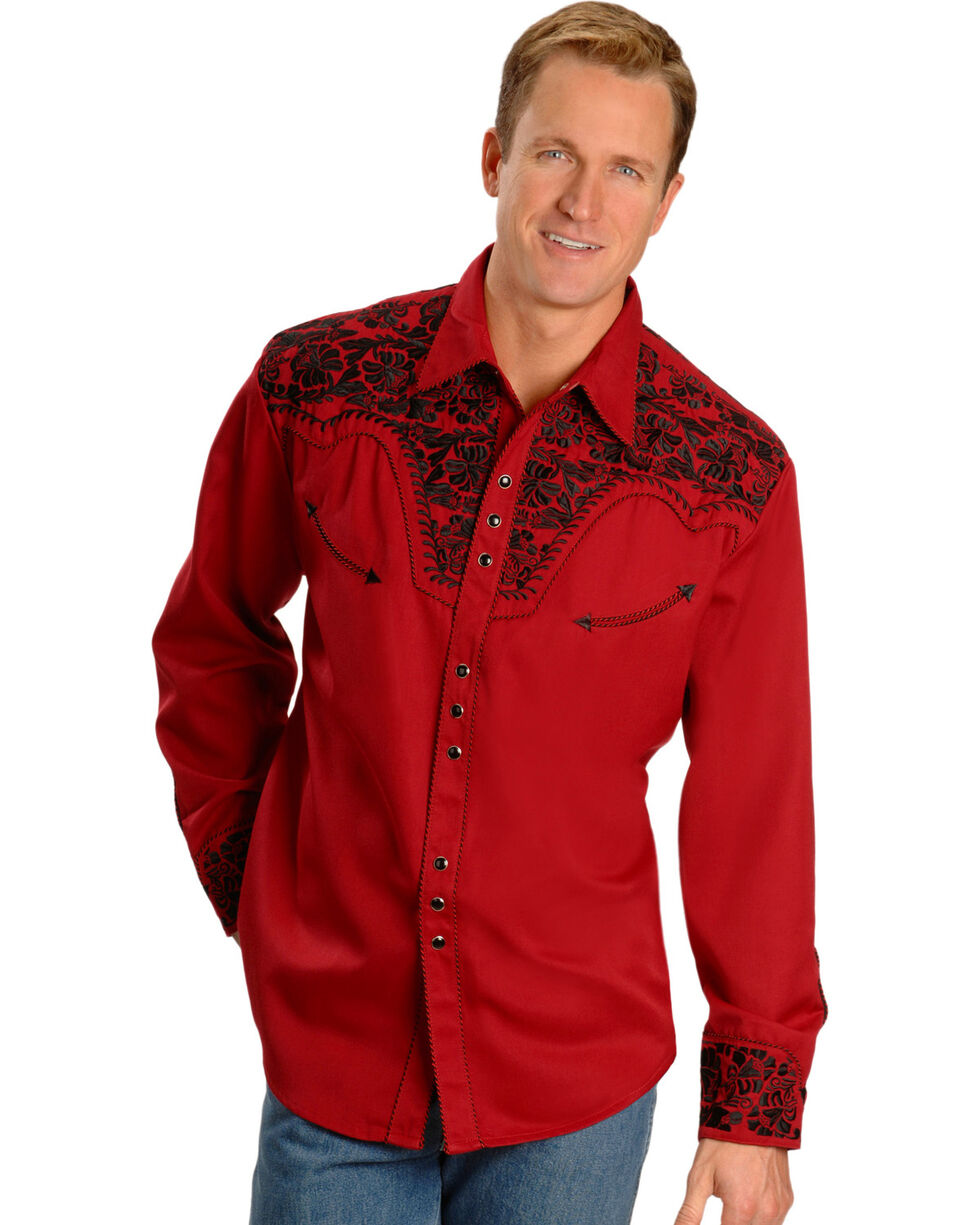 Scully Men's Embroidered Retro Western Shirt - Big & Tall, Red, hi-res