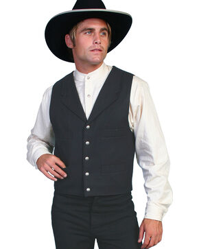 Scully Men's Wool Old West Vest, Black, hi-res
