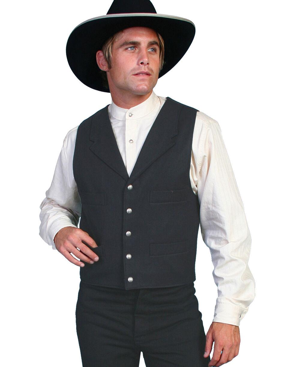 Scully Men's Wool Old West Vest, Black, hi-res