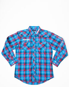 Wrangler Boys' Logo Long Sleeve Western Shirt, Blue/red, hi-res